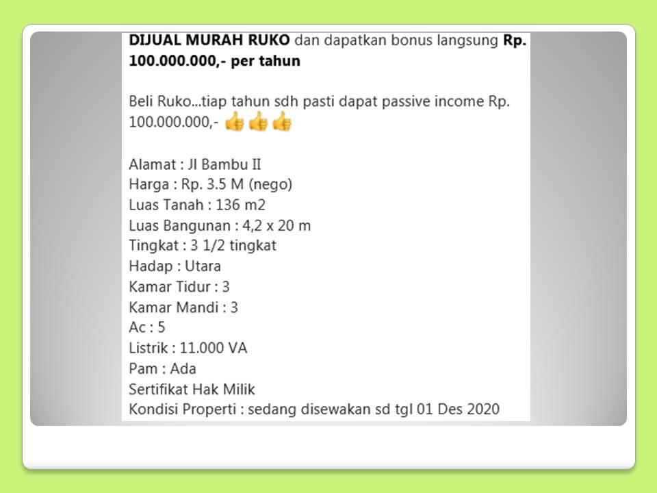 DIJUAL MURAH RUKO